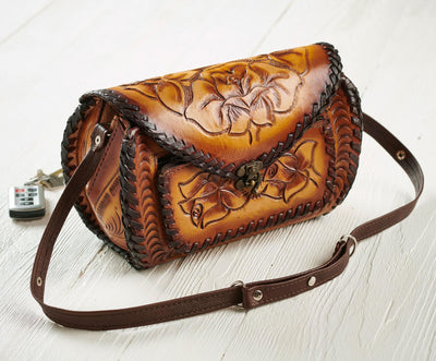 Tooled Leather Barrel Handbag