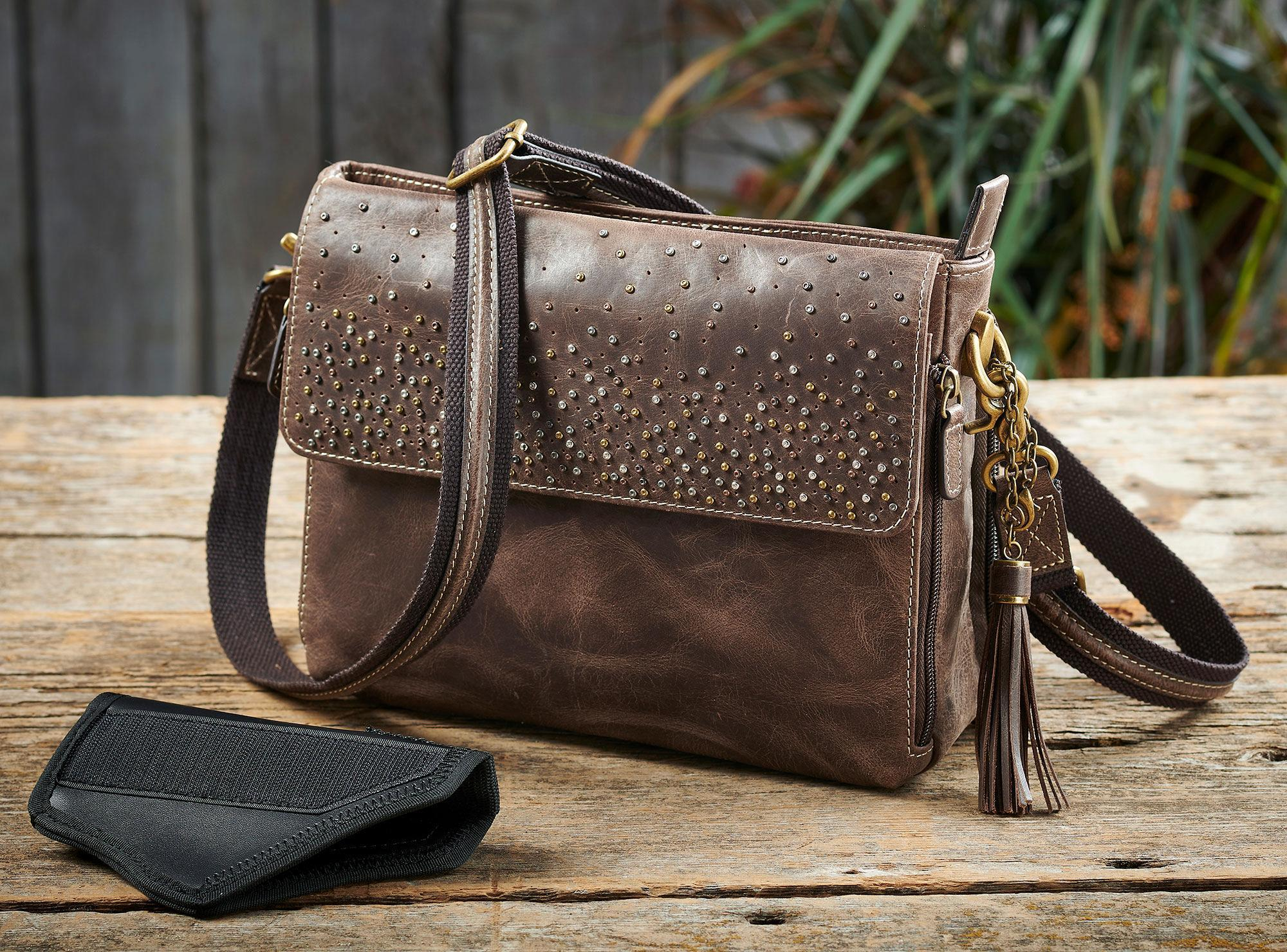 Leather Shoulder Clutch—Brown.