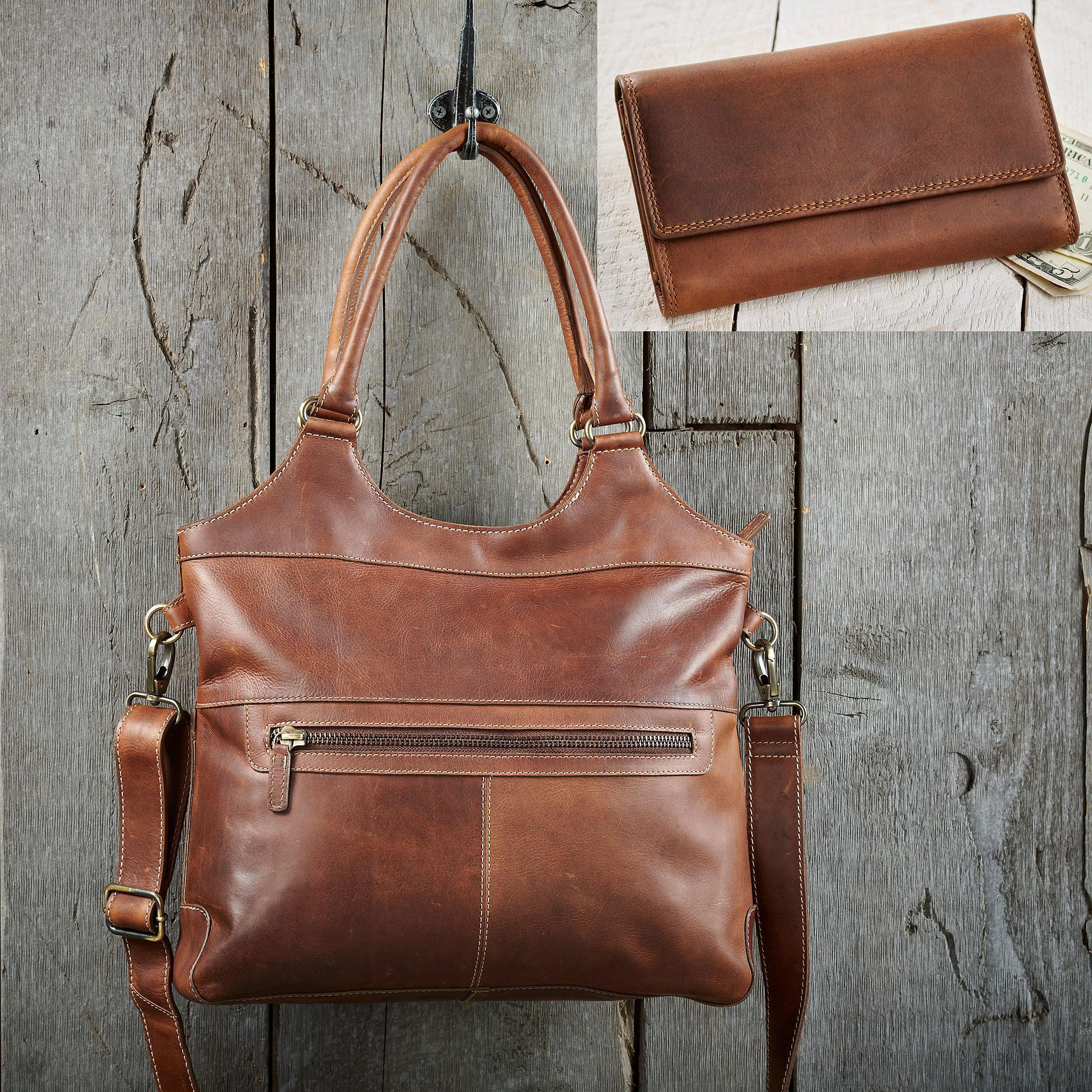 Brown Leather Handbag and Wallet Collection