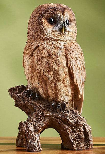 Red-Phase Tawny Owl Sculpture