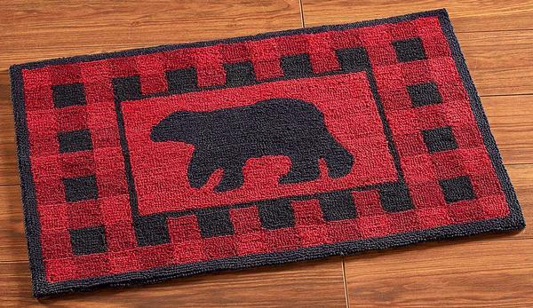 Red Plaid Bear Hooked Rug