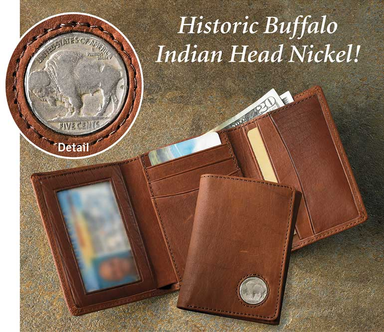 Buffalo Nickel Leather Tri-Fold Wallet