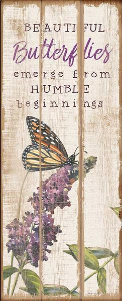 Beautiful Butterflies 12 X 30 Wood Sign