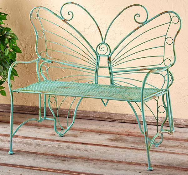 Metal Butterfly Bench