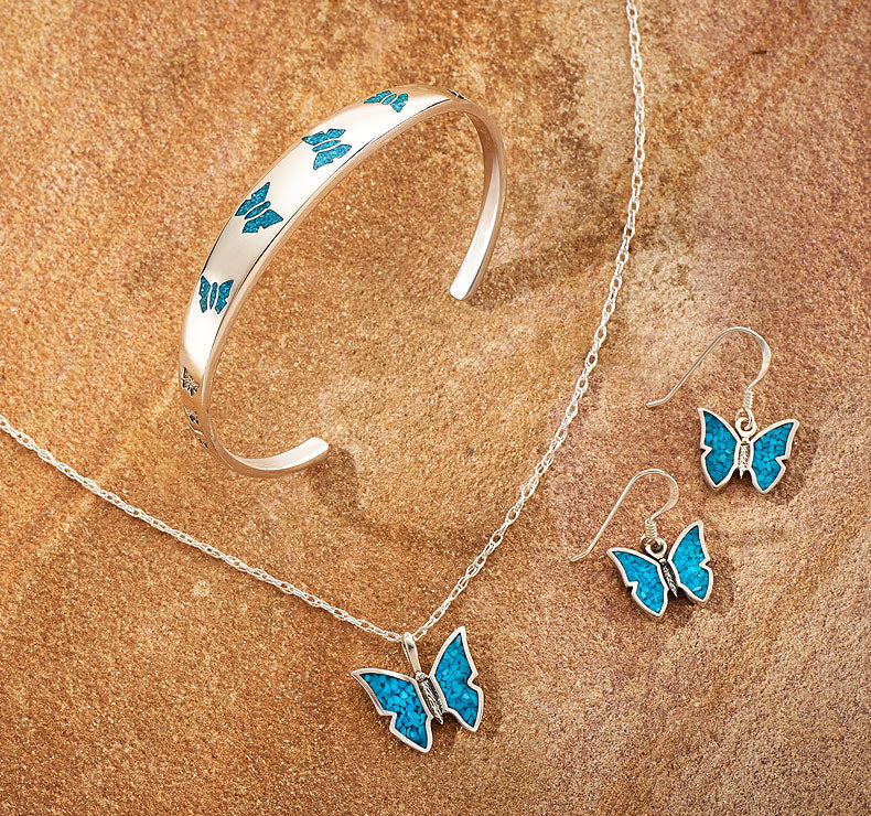 Turquoise Butterfly Necklace, Earrings & Bracelet