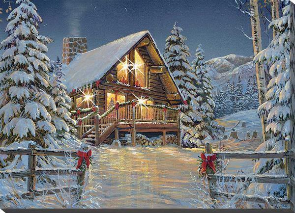 The Cabin Hideaway Lighted Wrapped Canvas