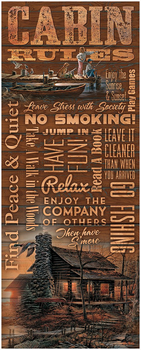 Cabin Rules 12 X 30 Wood Sign