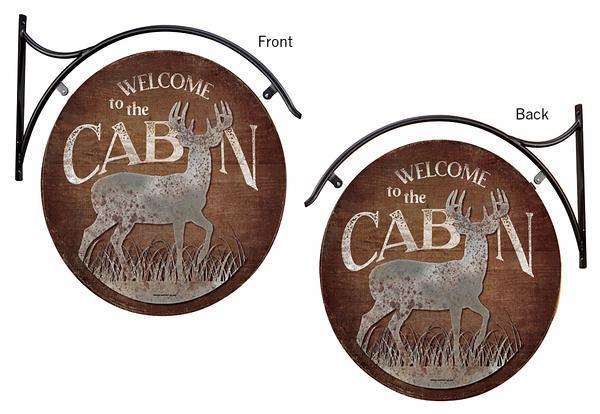 <I>Welcome To The Cabin&mdash;deer</i> Hanging Tin Signs