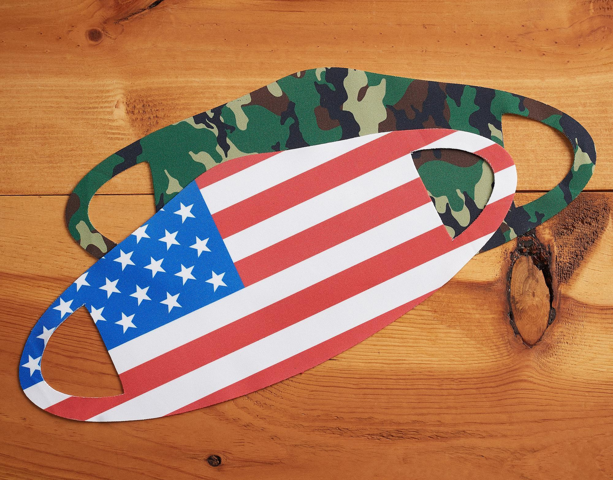 Camouflage and American Flag.