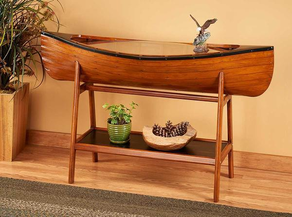 Handcrafted Canoe Side Table