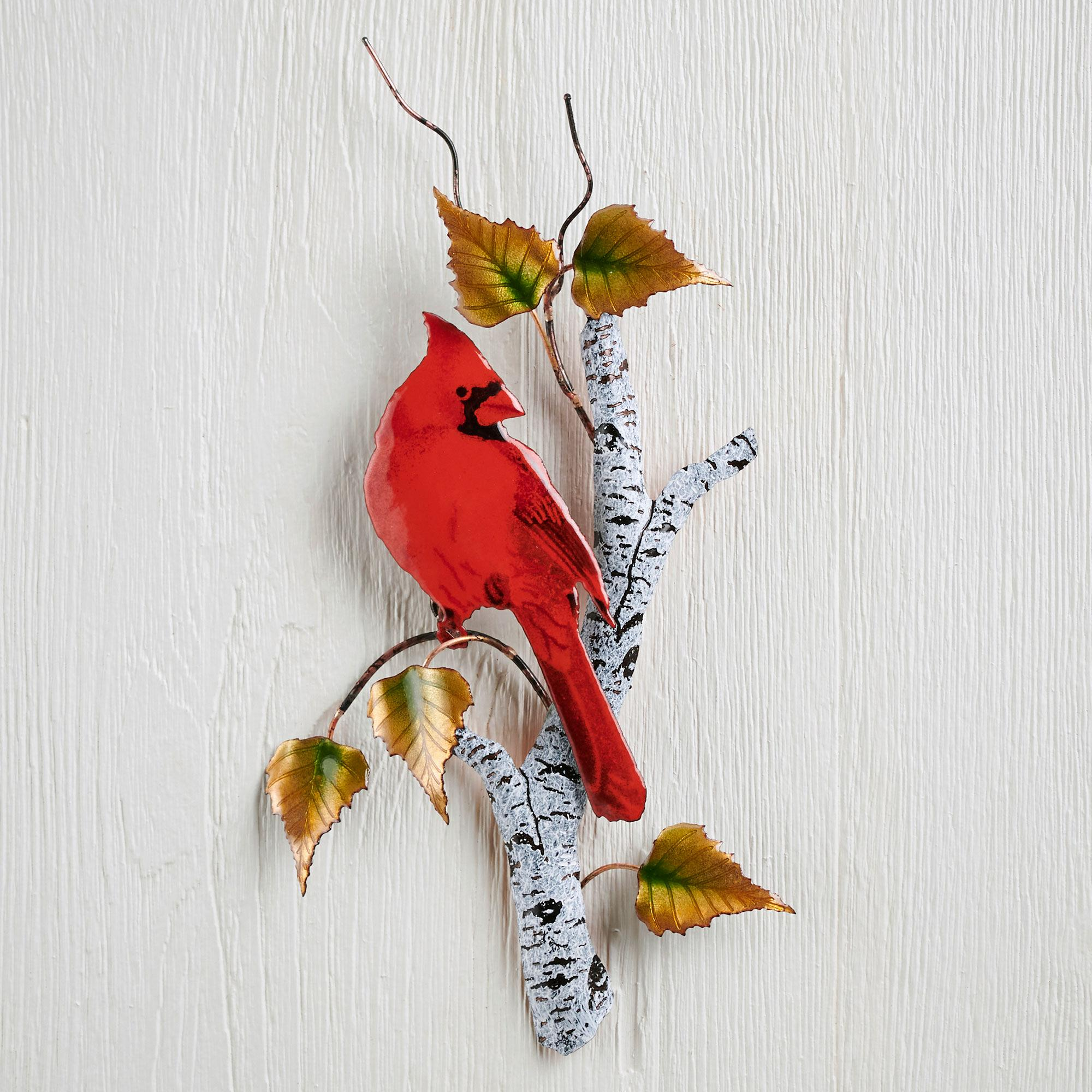 Cardinal on Birch Enamel Wall Art