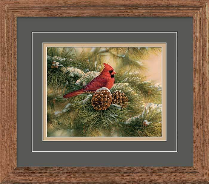 <I>December Dawn&mdash;cardinal</i> Gna Deluxe Framed Print<Br/>16.25H X 18.5W Art Collection
