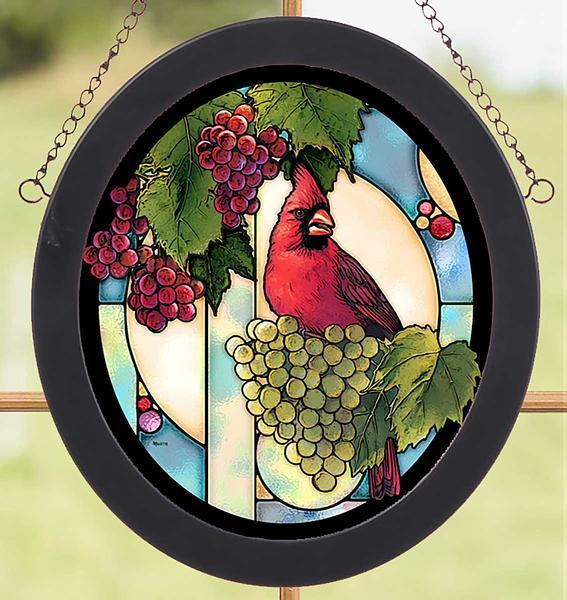 Cardinal Grape Vine Stained Glass Art