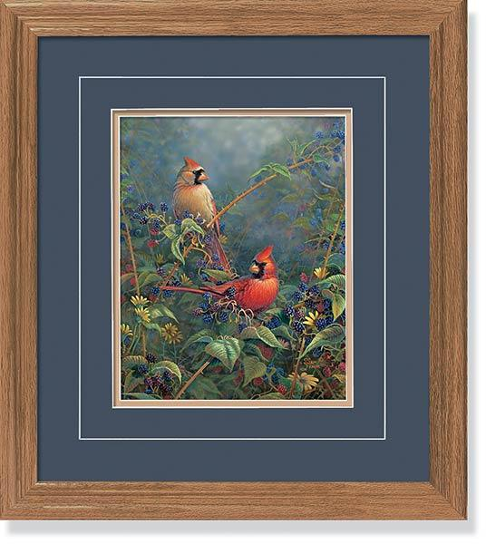 <I>Berry Bush Hideout&mdash;cardinals</i> Gna Deluxe Framed Print<Br/>18.5H X 16.25W Art Collection