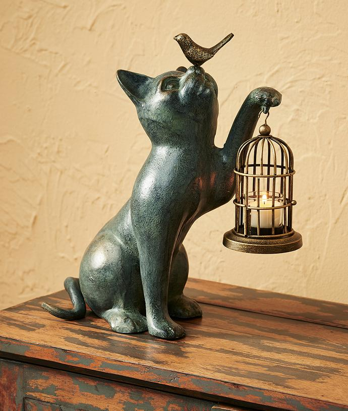Cat & Songbird Sculpture