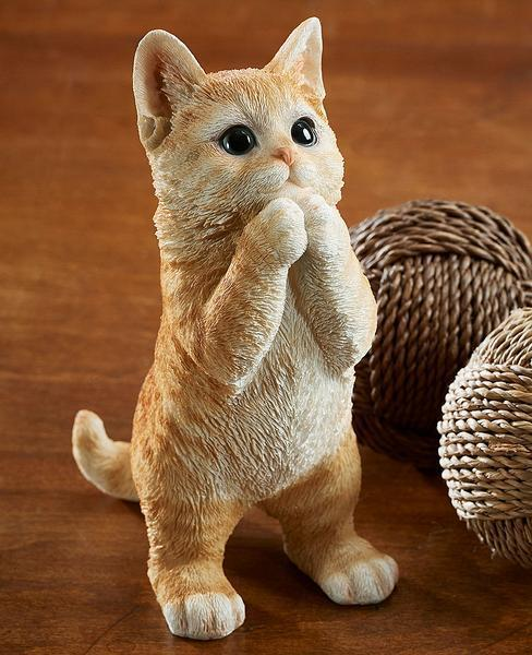 Playing Orange Tabby Cat Sculpture