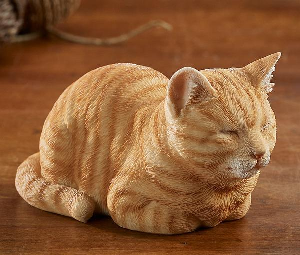 Sleeping Orange Tabby Cat Sculpture