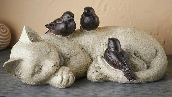 Sleeping Cat & Birds.