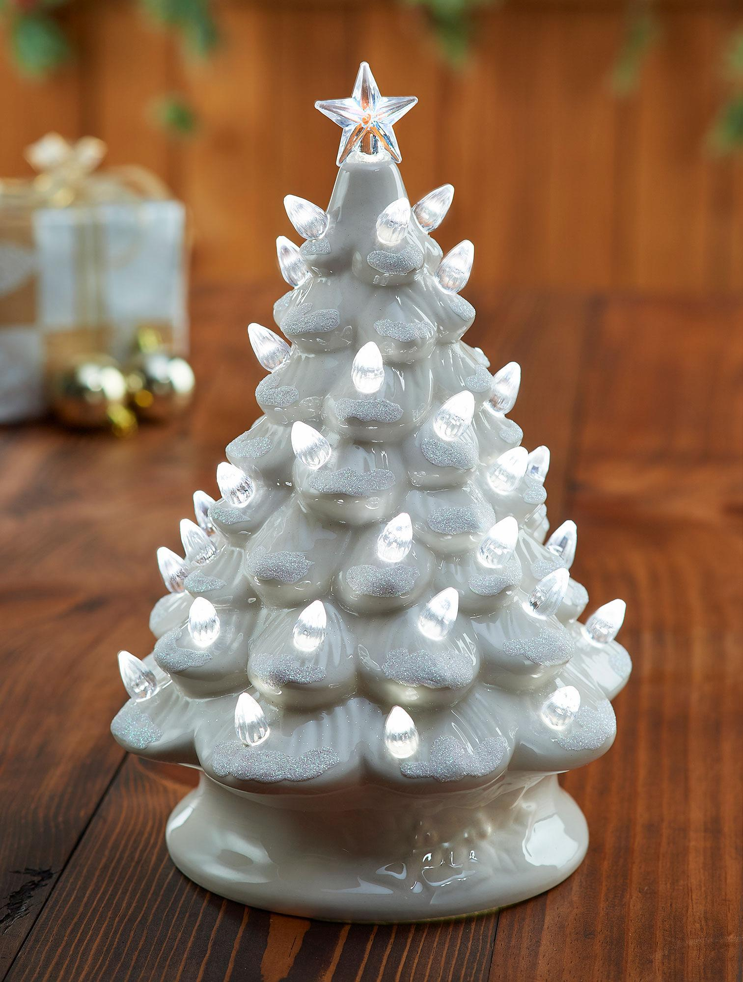 Ceramic White Lighted Christmas Tree