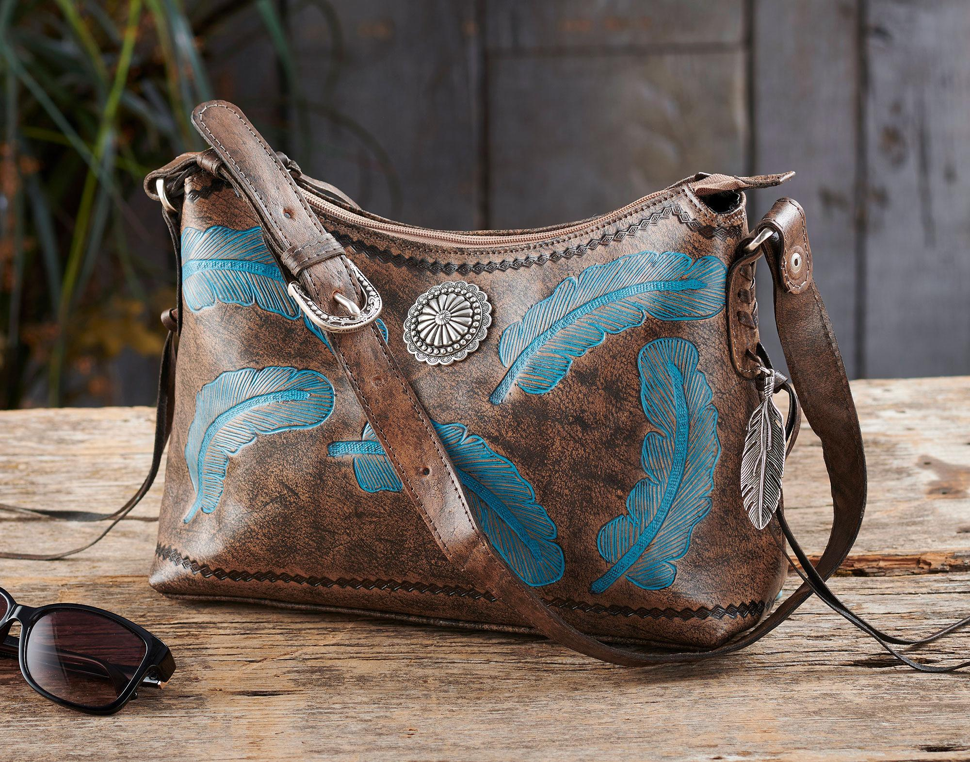 Charcoal Leather with Turquoise Feathers Handbag