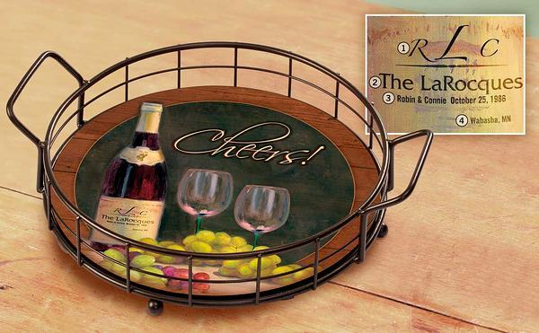 Cheers A Toast To Tuscany Personalized Serving Tray