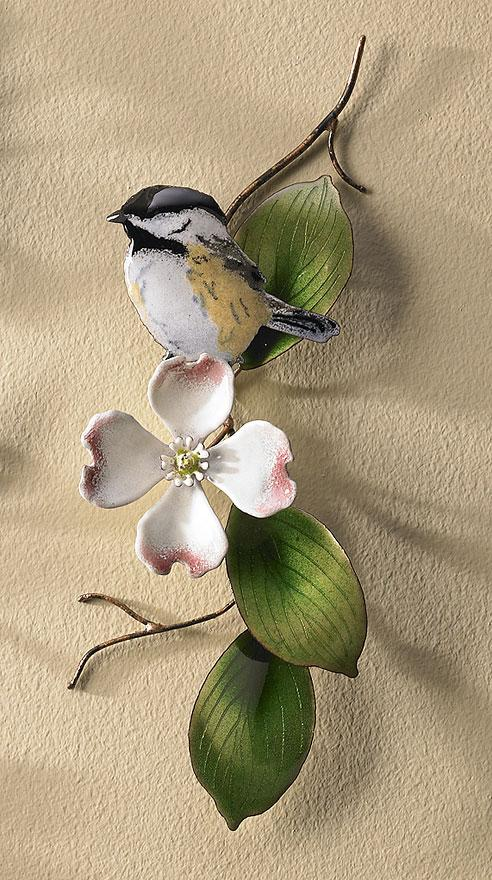 Chickadee Enamel Wall Art