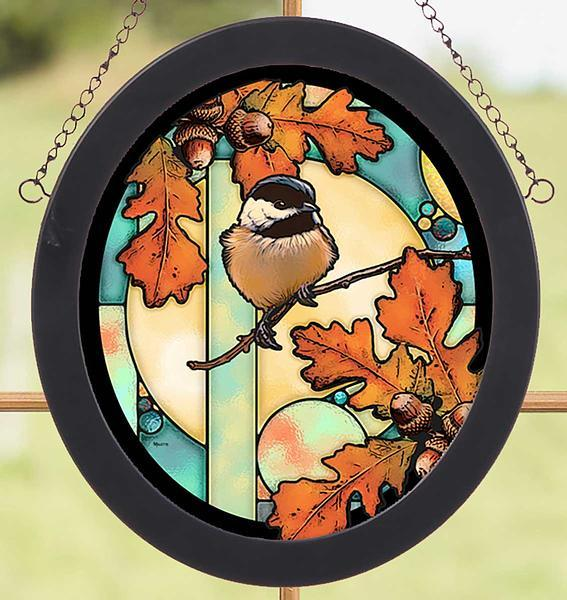 Chickadee Stained Glass Art