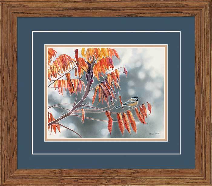 Chickadee In Fall Sumac Gna Deluxe Framed Print