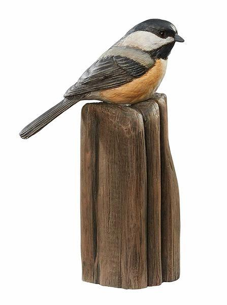 Chickadee On Post Sculpture