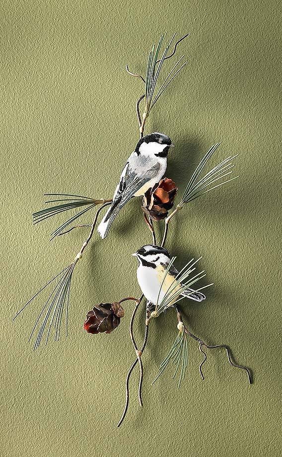 Chickadee and Pine Branch.