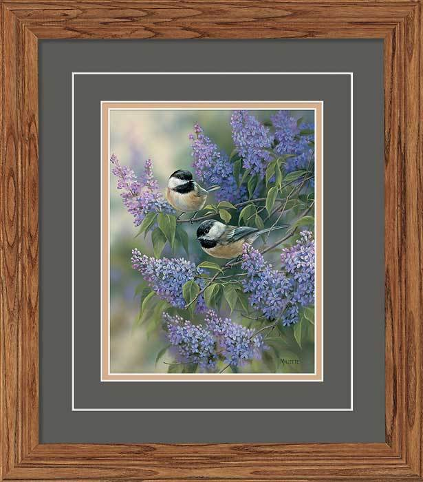 <I>Chickadees & Lilacs</i> Gna Deluxe Framed Print<Br/>18.5H X 16.25W Art Collection
