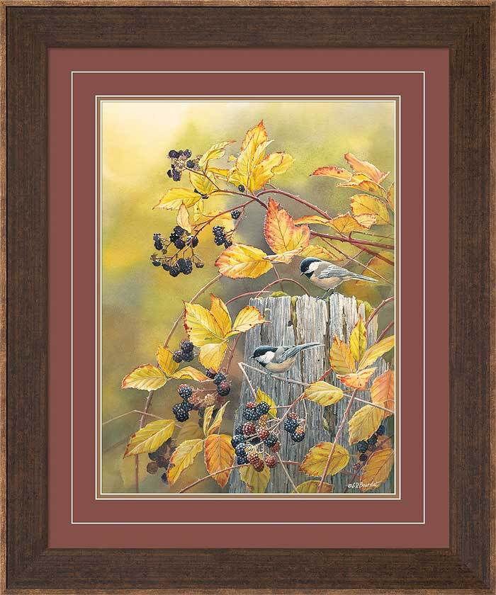 <I>Blackberry Haven&mdash;chickadees</i> Framed Limited Edition Print<Br/>30.5H X 25.5W Art