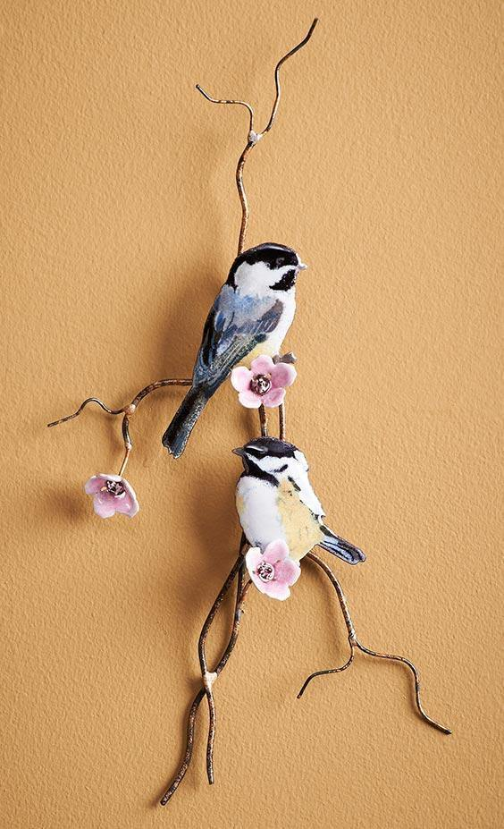 Chickadees Enamel Wall Art