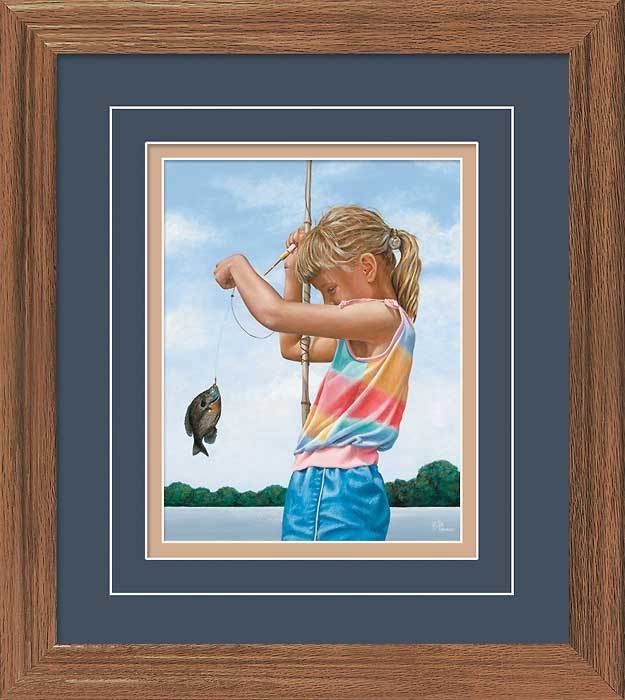 Grandpas Girl—fishing Gna Deluxe Framed Print