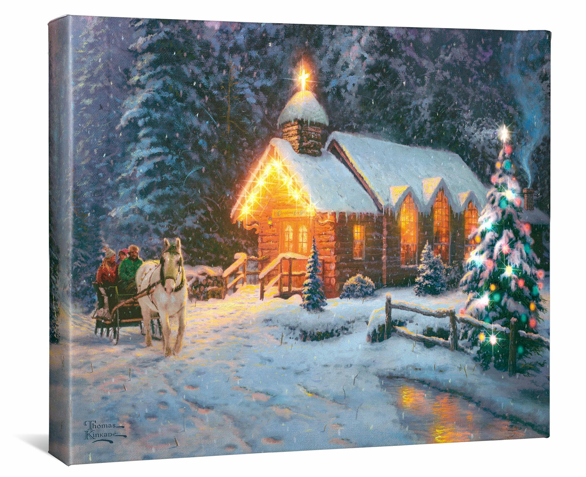 Christmas Chapel-O Come All Ye Faithful Lighted Wrapped Canvas