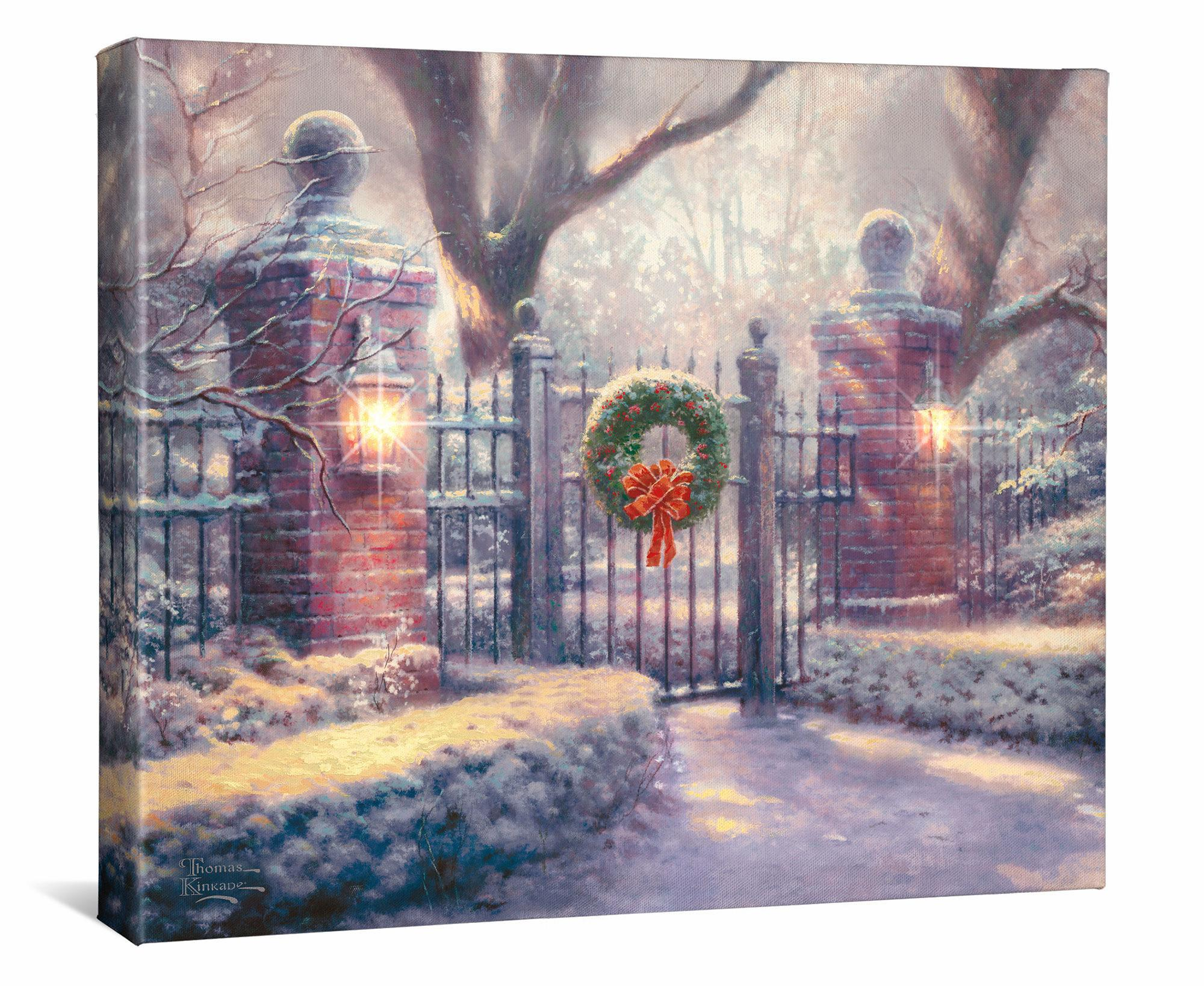 Christmas Gate Lighted Wrapped Canvas