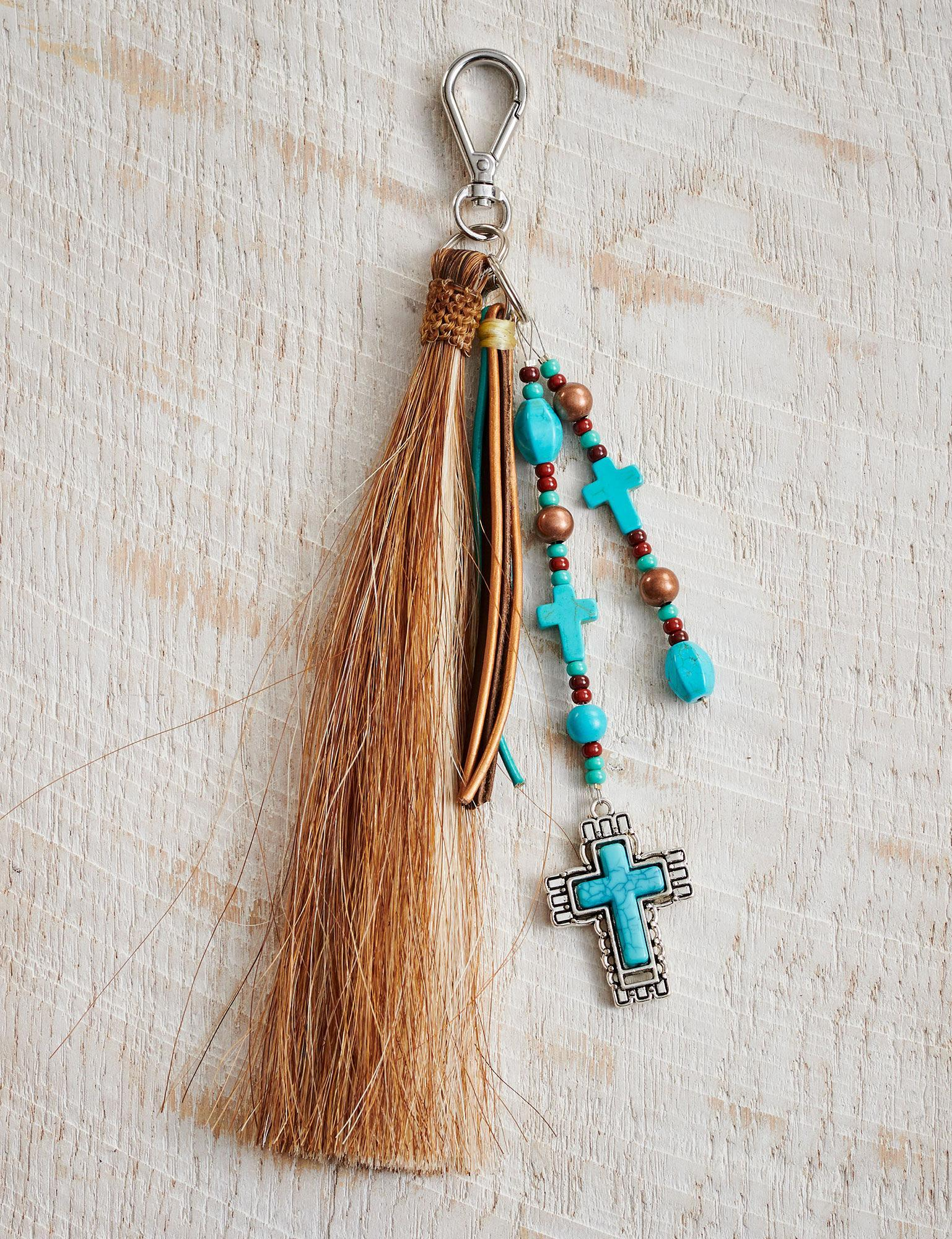 Cinnamon/Cream Cross Bag Tassel