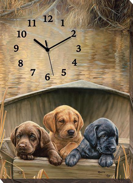 <I>All Hands On Deck&mdash;puppies</i> Canvas Clock