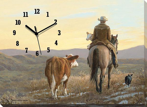 <I>Almost Home&mdash;cowboy</i> Canvas Clock