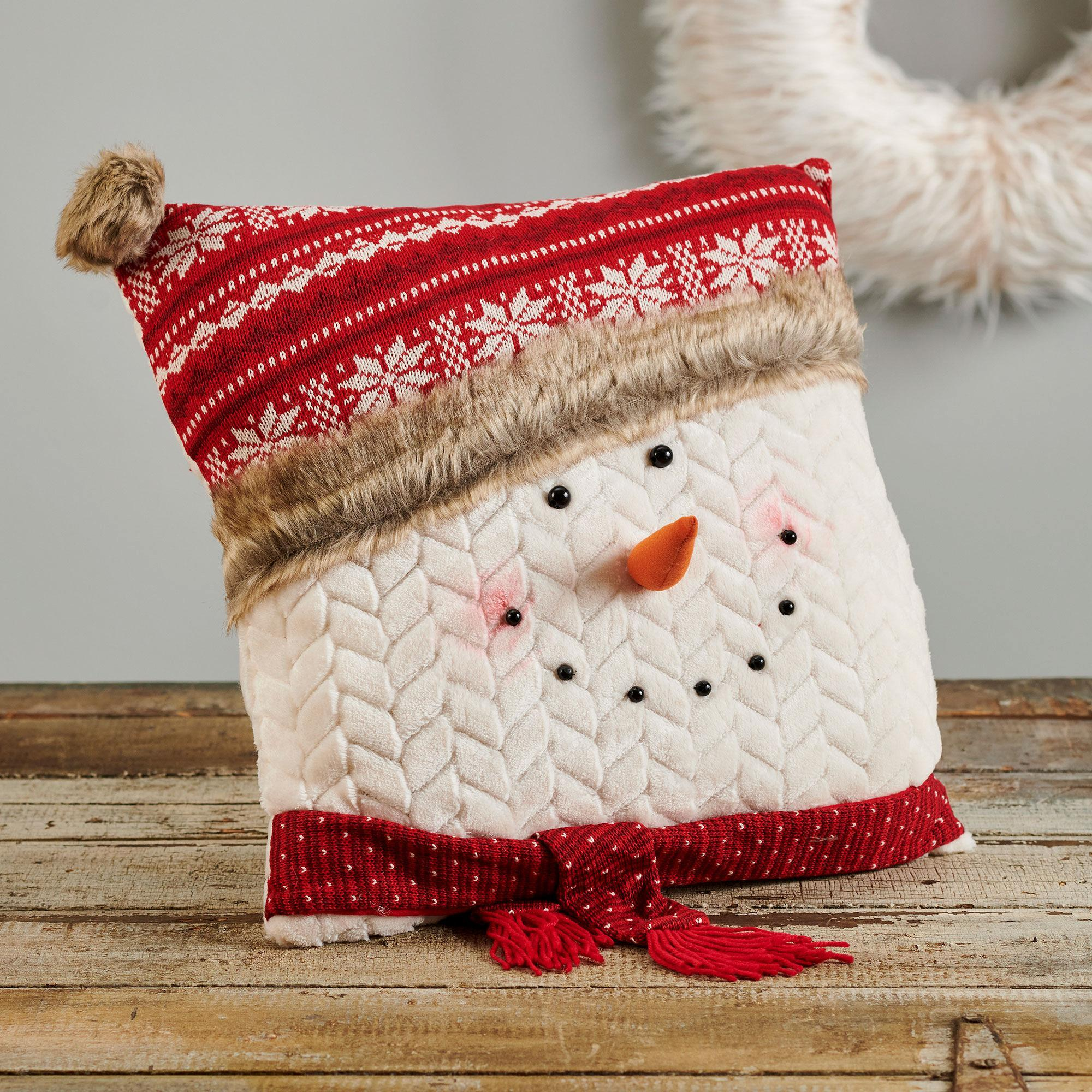 Snowman with Nordic Design Hat Pillow