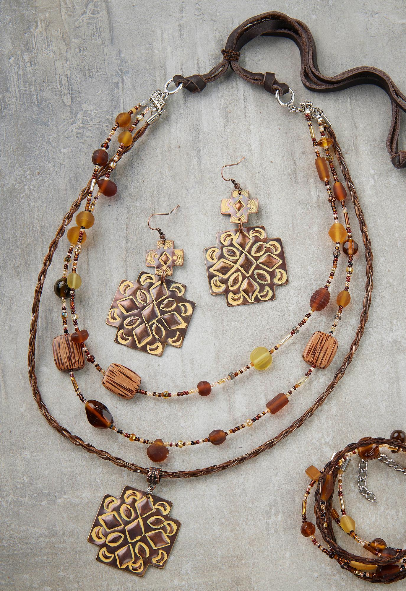 Brown Double Concho Necklace