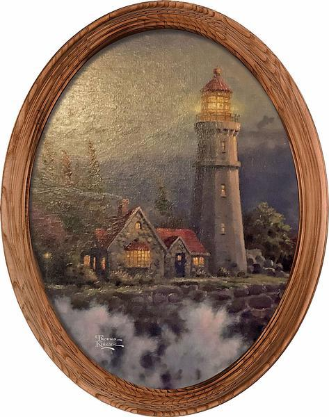 <I>Conquering The Storms&mdash;lighthouse</i> Framed Canvas Oval