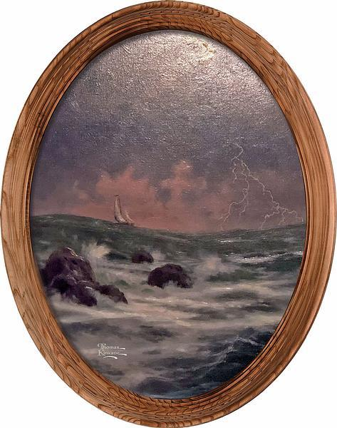 <I>Conquering The Storms&mdash;sailboat</i> Framed Canvas Oval