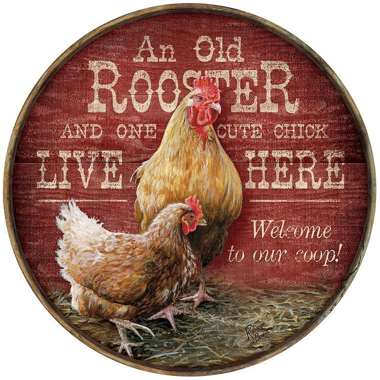 "Rooster & Cute Chick 21"" Round Wood Sign"