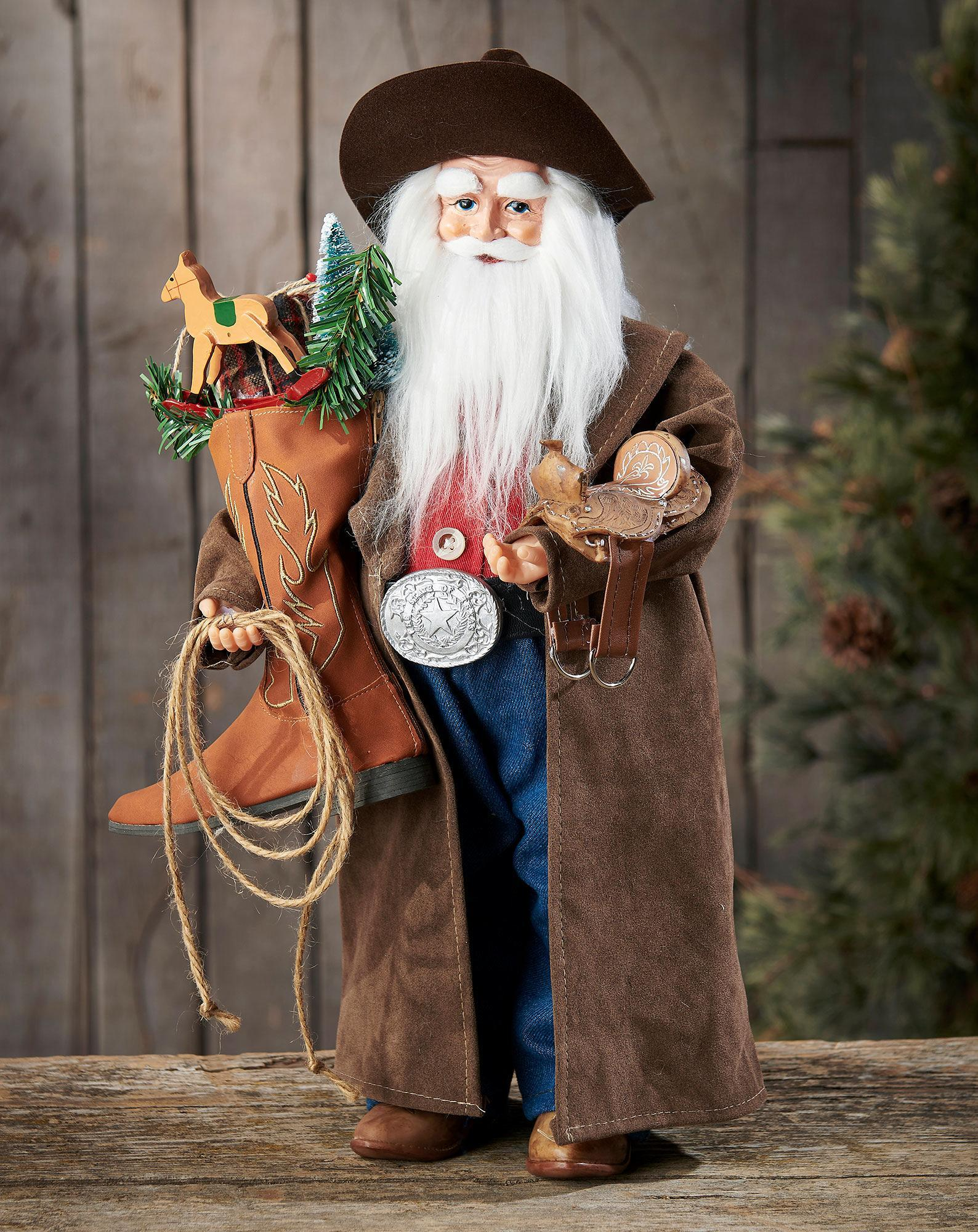 Cowboy with Leather Boot Santa