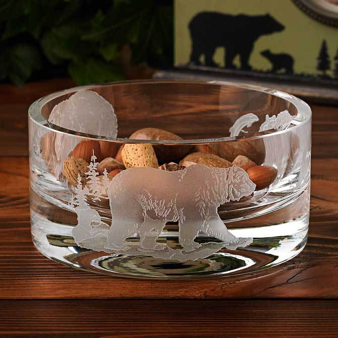 Bear Etched Crystal Bowl