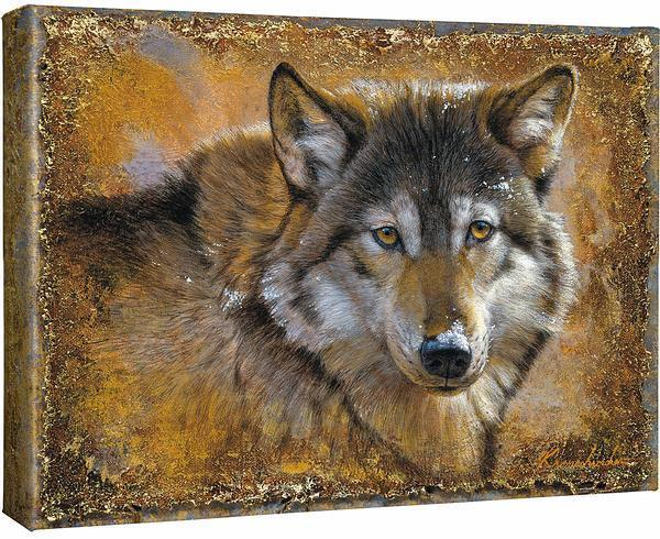 <I>Crystals And Gold&mdash;wolf</i> Gallery Wrapped Canvas