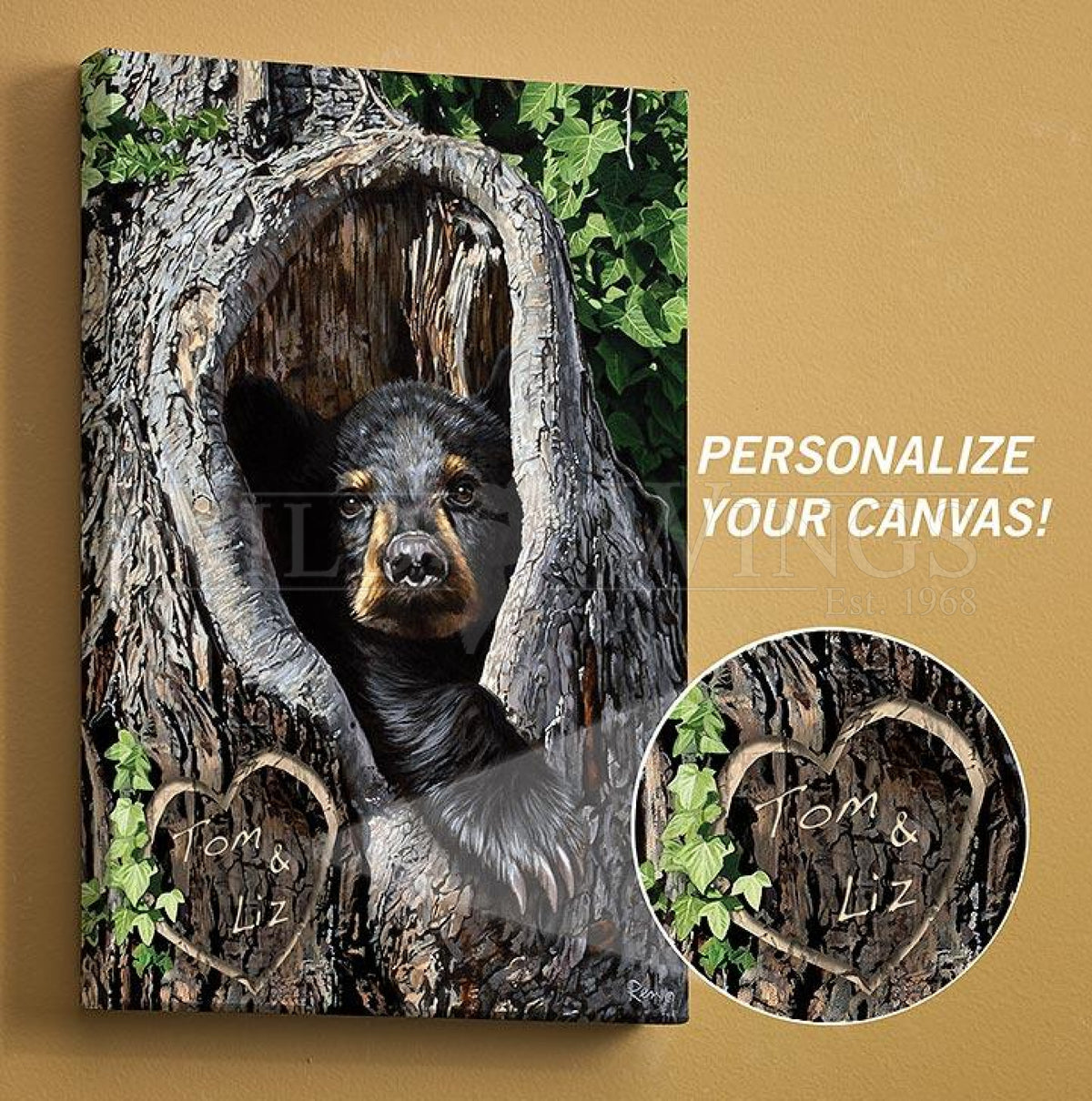 <I>Cubby Hole&mdash;black Bear</i> Personalized Wrapped Canvas<Br/>18H X 13W Art Collection