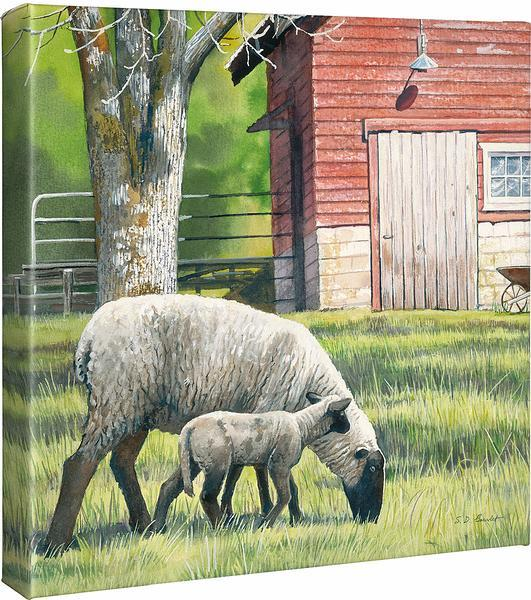 <I>Daily Chores&mdash;sheep</i> Gallery Wrapped Canvas