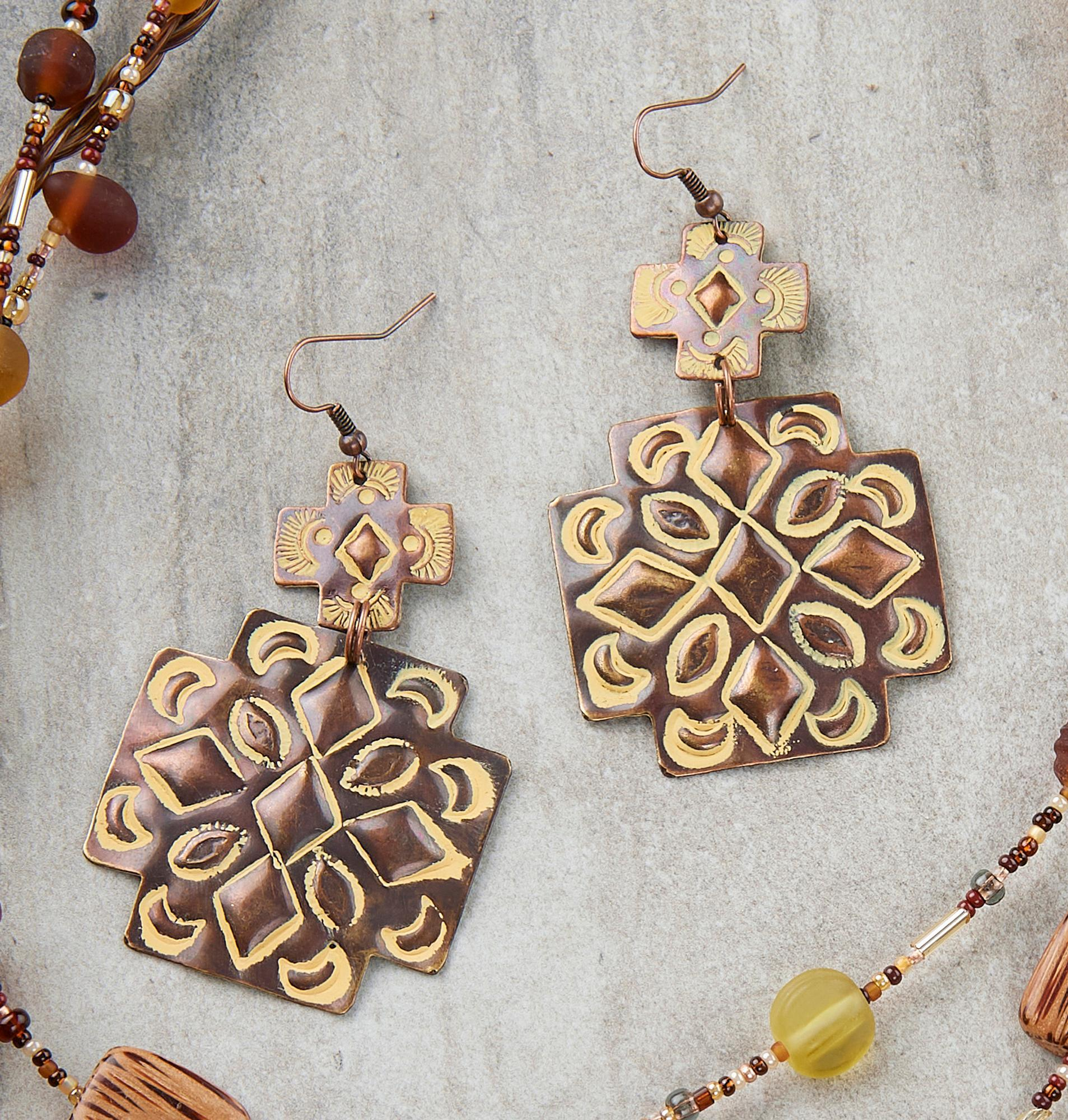Brown Double Concho Earrings